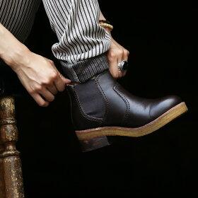 ショートブーツサイドゴアカウレザーゴートレザー天然クレープソール(ブラウンレッドダークブラウンブラック23.5cm24.5cm25.0cm靴ワークブーツ)