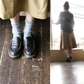 ペニーコインローファークッションインソールPUレザーレディース秋冬新作ブラウン茶大きめ大きいサイズMLLLRinCloverリンクローバー