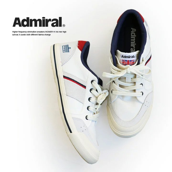 ローカット スニーカー INOMER イノマー キャンバス×スウェード 異素材切り替え 柔らかクッション入り レディース アイボリー ネイビー レッド UK4 UK5 UK6 靴 くつ カジュアル シューズ 大人 レディースシューズ 40代 50代 Admiral [アドミラル]画像