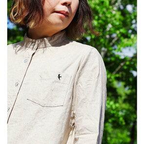 「アイロン要らず」「シワが目立たない」シャツ七分袖バンドカラー日本製綿麻キャンバス「乾きが早い」つばめ刺繍レディースカジュアルメンズライク無地重ね着かわいいギフト