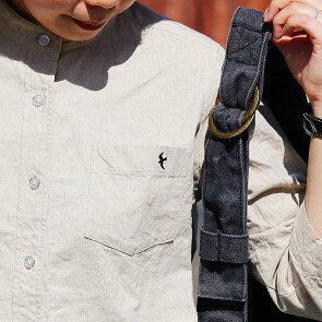 「アイロン要らず」「シワが目立たない」シャツ七分袖バンドカラー日本製綿麻キャンバス「乾きが早い」つばめ刺繍レディースSAIL