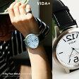 【予約販売】【送料無料】 VIDA+ [ヴィーダプラス] 時計 ビッグフェイス レザーベルト ウォッチ (シルバー×ネイビー) 専用化粧箱付き メンズ レディース 時計 腕時計 VIDA+ VIDA 45913 huge hole ステンレススチール