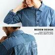 【送料無料】 modem Design [モデムデザイン] シャツ 長袖シャツ コットンネル 日本製 リメイクデザイン クレイジーパターン ネイビー 紺 カジュアル メンズシャツ レディースシャツ