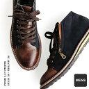 【A-冬靴】メンズ ブーツ サイドジップ 軽い PUレザー × PUス...