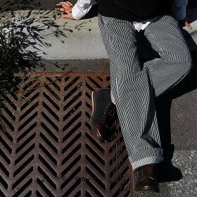 【送料無料】Johnbull[ジョンブル]ジーンズパンツストレートスレンダールーズストレートヒッコリーストライプ日本製綿100%ノンストレッチデニムレディース女性用ボトムスローライズ大きいサイズ美脚40代50代