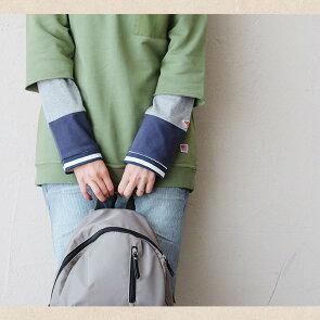 長袖カットソー「袖口袖裏ボーダー袖切り替え」お尻隠れるゆったり下着が見えない薄手綿100%grn×PATY