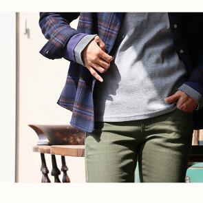 長袖 カットソー 「袖口 袖裏 刺繍 ボーダー 切り替え 袖切り替え」 スラブ天竺 薄手 綿100% レディース トップス インナー 重ね着40代 50代 |シンプル カジュアル おしゃれ  grn×PATY [ジーアルエヌ×パティ]