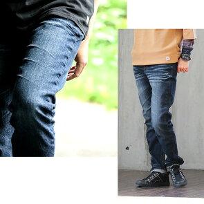 ジーンズ パンツ テーパード スリム ストレート 「ストレッチ スラブ デニム」 セルビッジ風 ラインテープ ユーズド ウォッシュ 大きいサイズ レディース メンズ 40代 50代  ALISTAIR [アリステア]