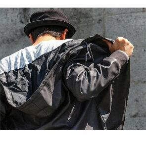ブルゾン ハイネック フード リブジャケット フルライニング ダブルジップ フェイクレザー レディース メンズアウター 軽い   ジャケット カジュアル ブルゾンジャケット ALISTAIR [アリステア]