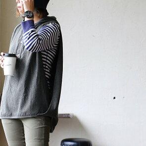 【A-靴下プレ対象】ベストトップスプルオーバーヘンリーネックフード変形カシュクールロング丈無地薄手フランネル刻印入りボタンレディーストップス秋冬40代50代SAIL[セイル]