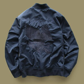 ブルゾンスカジャンMA-1ジャケット「同色イーグル鷹刺繍入り」撥水防汚ポリツイルメンズレディースALISTAIR