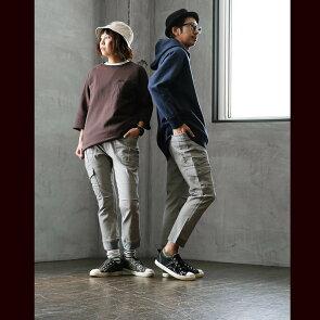クロップド パンツ ストレッチ カツラギ かすれ プリント ガーデニングポケット 裾リブ 切り替え ワークパンツ アンクルパンツ メンズ レディース 40代 50代 OAR'S [オールズ]