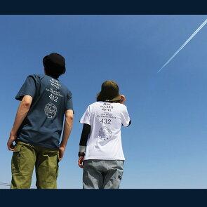 Tシャツティーシャツ半袖クルーネック『BLUEPOLARISHOTEL前後配色プリント』綿100%メンズレディース40代50代夏夏服おしゃれ重ね着カジュアルプリントTシャツ