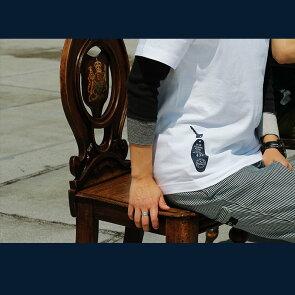 Tシャツティーシャツ半袖クルーネック『BLUEPOLARISHOTEL前後配色プリント』綿100%メンズレディース40代50代夏夏服おしゃれ重ね着カジュアルプリントTシャツTOneontoNE[トーン]