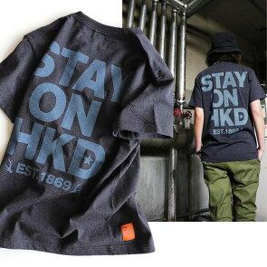 Tシャツ半袖ティーシャツプリントTクルーネック『配色STAYONHKDプリント』綿100%5.6オンスヘビーウェイト丸胴メンズレディース重ね着おしゃれ40代50代