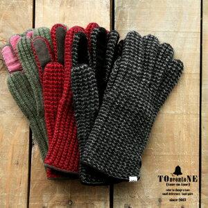 ニットグローブ 畦編み2トーンニット ピッグスウェード切り替え (3色 メンズ 手袋 革 本革 スウェード 防寒)