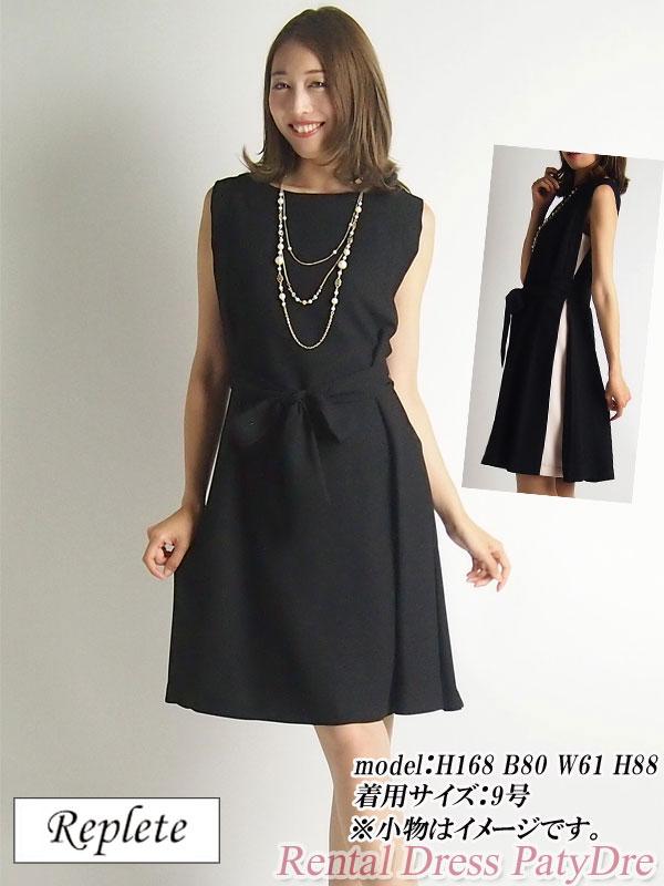 【レンタル】 レンタルドレス Replete リプリート 配色タックワンピース ノースリーブ ブラック 9号 PA9 fy16REN07