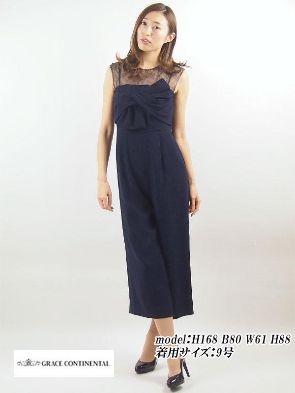 【レンタル】 レンタルパンツドレス GRACE CONTINENTAL グレースコンチネンタル リボンサロペット ネイビー 9号 fy16REN07