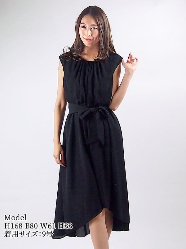 【レンタル】 レンタルドレス AMORA GRACE アモーラグレース ベルト付ドレープギャザードレス ブラック 9号 fy16REN07