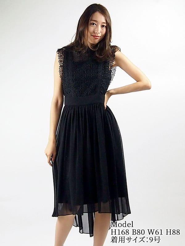 【レンタル】 レンタルドレス JESSA JAYNE ジェサ ジェーン ニードルレース切り替えドレス ブラック 9号 fy16REN07
