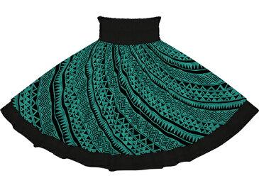 【ダブルパウスカート】ひすい色(ブルー・グリーン)のタパ・カヒコ柄とブラックの無地 【丈とゴム本数が選べる】 dpau-2740jd フラダンス衣装 ななめ柄 青緑