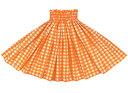 オレンジのパウスカート パラカ柄 spau-2028or 【丈とゴム本数が選べる】 フラダンス衣装 パラカパウ チェックプリント