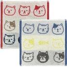 【猫柄】ジャガードハンカチタオル【猫雑貨】