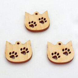 【当店オリジナル】【3個】ひのきの猫顔に肉球2個のパーツ【アクセサリーパーツ】