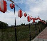お祭りコード50灯65cm間隔、省エネLED電球(広角度)50w相当品使用、東日本、熊本震災者は特別割引あり