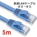 【送料無料】通信ケーブル5m高速LANケーブル 扁平形 CAT6準拠【オスーオス】 ADSL/FTT