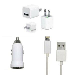 【送料無料・代引不可】iPhone6/plus/iPhone5/5c/5s用USB充電器アダプタ&Lightning ケーブル&車充電☆3点セット