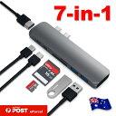 【送料無料】Type-C 7 in 1 USBハブ マルチポートアダプタ Type-C to HDMI 変換アダプタ 4K高解像度 Thunderbolt 3(USB-C)ポート+USB 3.0ポート/SD/TFカードリーター For MacBook Pro 15 / 13に適用 超軽アルミ合金