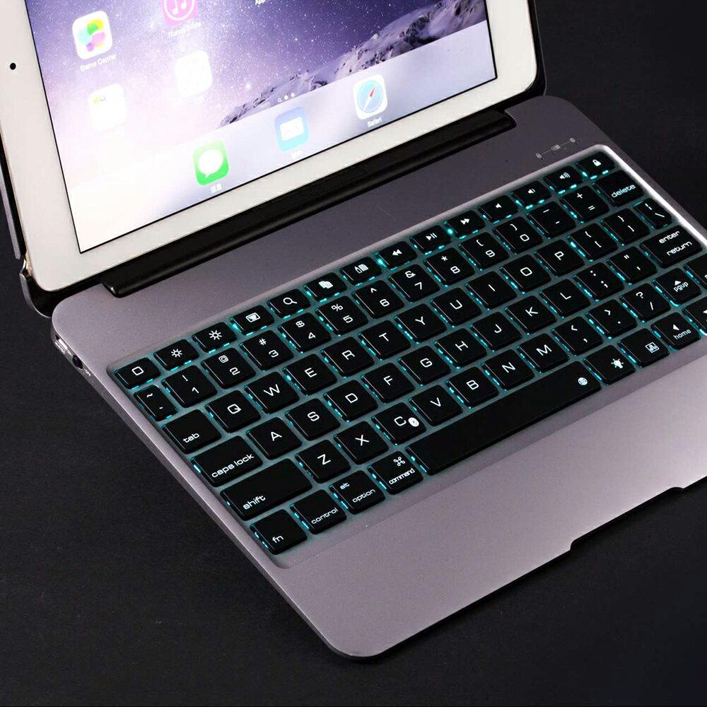 iPad mini4専用☆7色LEDバックライト&全体アルミニウムボディ&緊急モバイル電源付きBluetooth キーボードPCカバー☆MacbookAirに変身