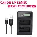 【送料無料】CANON LP-E8対応縦充電式USB充電器 PCATEC LCD付4段階表示2口同時充電仕様USBバッテリーチャージャー For Canon EOS Rebel T2i, T3i, T4i, T5i, EOS 550D, 600D, 650D, 700D, Kiss X4, X5, X6対応