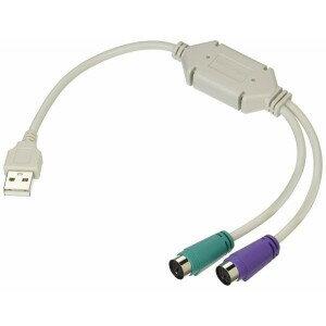 【メール便発送・代引不可】PS/2接続キーボードとマウス → USB 変換アダプタ 日本語/英語キーボード用  TEC-V-USB-PS2D