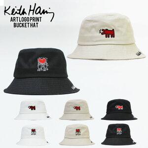 Keith Haring キースヘリング アート ロゴ プリント バケット ハット ドッグ ハート メンズ レディース おしゃれ フェス 学生 かわいい 可愛い 黒 ブラック ネイビー ベージュ アウトドア アウトフィット 人気 ブランド 中学生 高校生 大人