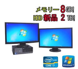 中古パソコンDELLOptiplex990SF/23型ワイドデュアルモニター(Corei7-26003.4GHz)(メモリー8GB)(新品HDD2TB)(DVDマルチ)(Win7Pro64Bit)(dm-052)【中古】【中古パソコン】10P23Sep15【smtb-k】