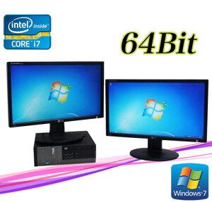 中古パソコンDELLOptiplex7010SF/フルHD対応21.5ワイド型×2枚(Corei7-37703.4GHz)(メモリー4GB)(DVDマルチ)(Win7Pro64Bit)(新品GeForce210)【中古】P20Feb16【中古パソコン】