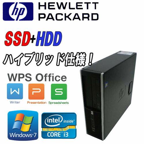 中古パソコン 64Bit Windows7 Pro Core i3-2100(3.1GHz) 高速SSD新品240GB + HDD250GB メモリ4GB DVDマルチ HP 8200 Elite SFF /R-d-299/中古:中古パソコン PCshophands