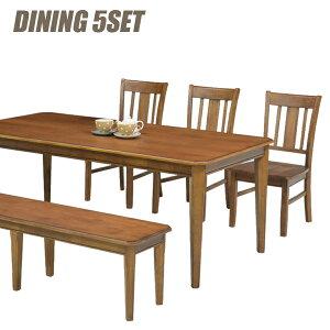 ダイニングセット ダイニングテーブルセット 5点セット 6人掛け 幅180cm 180×90 180テーブル ベンチ ベンチタイプ オーク材 ブラウン 北欧 シンプル モダン カフェ おしゃれ 食卓セット ダイニン