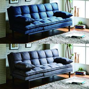 リクライニングソファ ソファベッド 3人掛けソファ 幅183cm グレー ブルー 選べる2色 クッション ベッド ソファ リクライニング おしゃれ ファブリック 布地 北欧 シンプル 送料無料