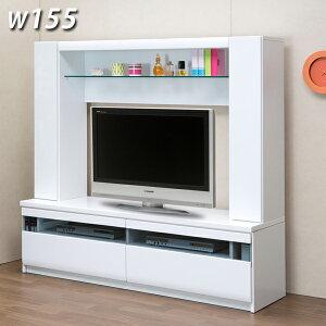 テレビ台 テレビボード 鏡面 ハイタイプ 幅155cm 壁面収納 ホワイト ブラック 選べる2色 白 黒 光沢 ツヤあり TV台 TVボード  高さ150cm 37型 42型収納力.