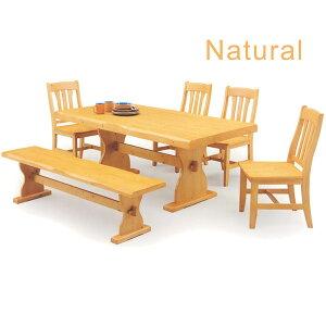 無垢材 ダイニングセット ダイニングテーブルセット 6点セット 7人掛け テーブル幅180cm ベンチ付き ナチュラル ブラウン 選べる2色 北欧 シンプル 木製 食卓テーブルセット 天然木 パイン 送