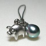 〜豚に真珠〜黒蝶真珠ストラップ(bs3023)