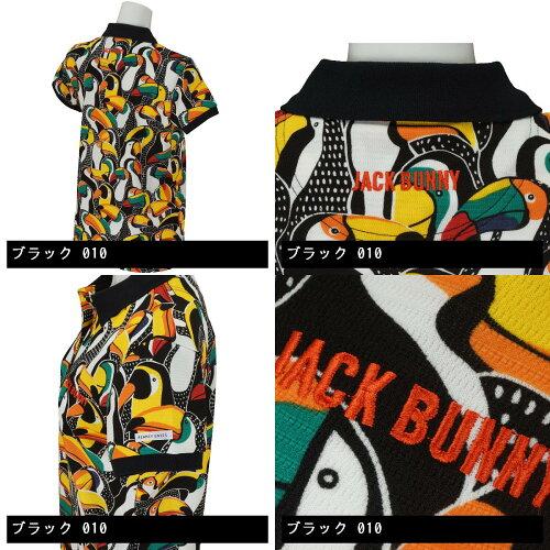ジャックバニーバイパーリーゲイツJackBunny!!byPEARLYGATESマーズパロットプリント半袖ポロシャツ263-7160614レディス