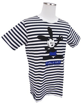 【NEW】PEARLY GATES パーリーゲイツOSWALD THE LUCKY RABBIT×PEARLY GATESオズワルド コットン天竺ボーダーメンズTシャツ=JAPAN MADE= 8163301/18A