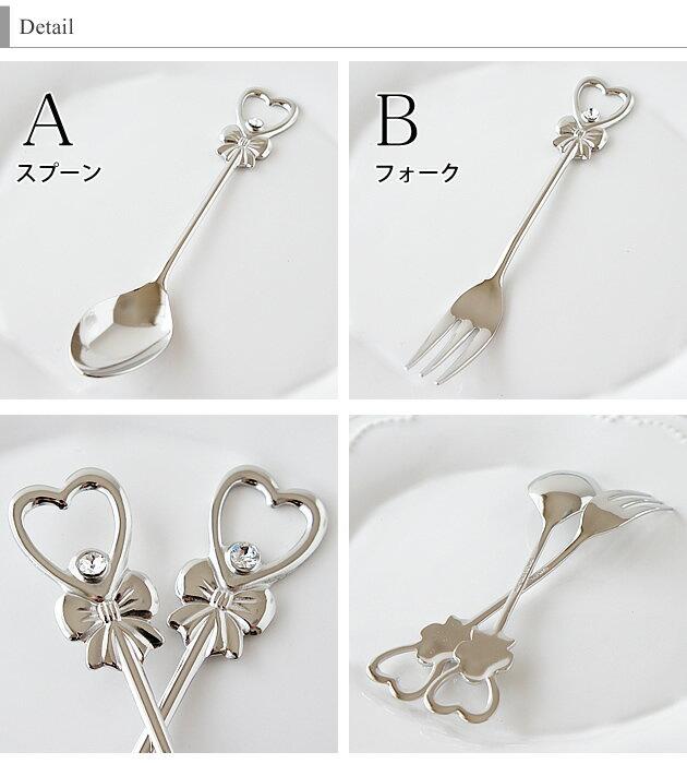 リボンハートコーヒースプーン・ヒメフォーク ピューターメッキ 日本製 カトラリー かわいい おしゃれ キッチン雑貨 キッチングッズ