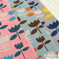 綿麻キャンバス北欧風フラワープリント
