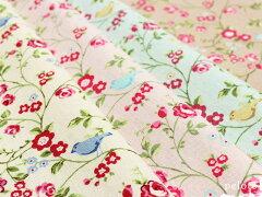 小物作りにぴったり!小さなバラと小鳥の綿麻キャンバスが15%OFF!!