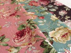 大きめ花柄が素敵なコットンリネンのナチュラル生地綿麻キャンバスオールドローズプリント